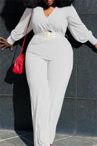 White Fashion Casual Solid With Belt V Neck Plus Size Jumpsuits