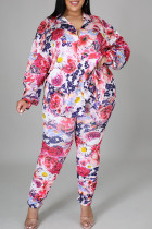 Pink Casual Print Split Joint Buckle Turndown Collar Plus Size Two Pieces