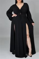 Black Fashion Casual Plus Size Solid Bandage Slit V Neck Long Sleeve Dresses