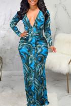 Blue Sexy Print Split Joint V Neck Long Sleeve Dresses