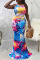 Multicolor Sexy Print Split Joint U Neck Vest Dress Dresses