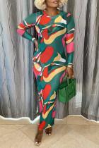 Green Street Print Split Joint O Neck Pencil Skirt Dresses