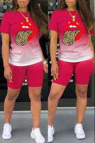 Rose Red Fashion Casual Gradual Change Lips Printed Basic O Neck Short Sleeve Two Pieces