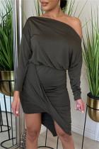Dark Gray Fashion Casual Solid Split Joint Asymmetrical Oblique Collar Long Sleeve Dresses