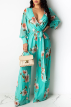 Blue Casual Print Split Joint V Neck Straight Jumpsuits