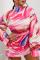 Pink Sexy Print Split Joint Half A Turtleneck Waist Skirt Dresses