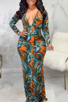 Orange Sexy Print Split Joint V Neck Long Sleeve Dresses