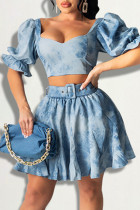 Blue Sexy Casual Patchwork Backless Square Collar Short Sleeve Two Pieces
