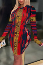 Red Fashion Sexy Print Hollowed Out O Neck Long Sleeve Dresses