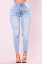 Baby Blue Casual Solid Split Joint Mid Waist Skinny Denim Jeans