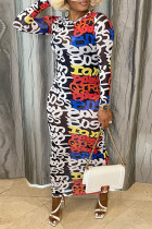 Letter Print Street Print Split Joint O Neck Pencil Skirt Dresses