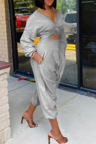 Grey Casual Solid Split Joint Fold Asymmetrical V Neck Long Sleeve Two Pieces