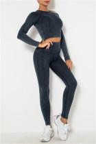 Black Casual Sportswear Solid Split Joint Two-piece Set