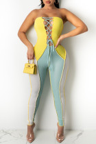 Yellow And Blue Fashion Sexy Patchwork Bandage Backless Strapless Skinny Jumpsuits
