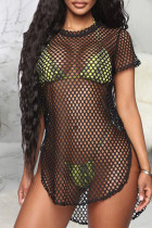 Black Fashion Sexy Solid Hollowed Out See-through Swimwears Cover Up