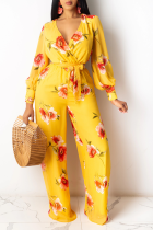 Yellow Casual Print Split Joint V Neck Straight Jumpsuits