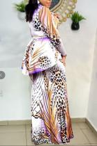 Purple Casual Print Split Joint Flounce O Neck Long Sleeve Plus Size Dresses