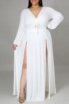 White Fashion Casual Plus Size Solid Bandage Slit V Neck Long Sleeve Dresses