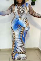 Blue Casual Print Split Joint Flounce O Neck Long Sleeve Plus Size Dresses