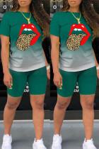 Ink Green Fashion Casual Gradual Change Lips Printed Basic O Neck Short Sleeve Two Pieces