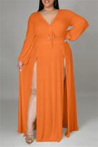 Orange Fashion Casual Plus Size Solid Bandage Slit V Neck Long Sleeve Dresses