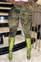 Yellow Fashion Casual Print See-through Skinny High Waist Pencil Trousers