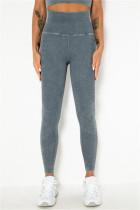 Navy Blue Casual Sportswear Solid Split Joint Skinny High Waist Trousers