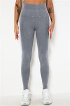Grey Casual Sportswear Solid Split Joint Skinny High Waist Trousers
