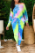 Colour Casual Patchwork Tie-dye Off the Shoulder Long Sleeve Two Pieces
