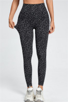 Black Gray Casual Sportswear Leopard Basic Skinny High Waist Trousers