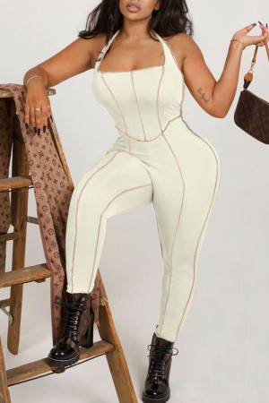 Beige Sexy Solid Split Joint Backless Halter Skinny Jumpsuits