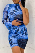 Blue Sexy Print Split Joint Half A Turtleneck Pencil Skirt Dresses