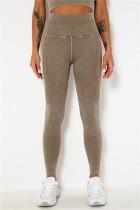 Coffee Casual Sportswear Solid Split Joint Skinny High Waist Trousers