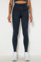 Black Casual Sportswear Solid Split Joint Skinny High Waist Trousers
