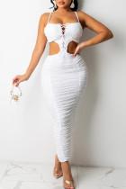 White Sexy Solid Hollowed Out Split Joint Frenulum Fold Zipper Spaghetti Strap Sling Dress Dresses