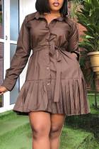 Brown Casual Solid Split Joint Buckle Flounce Fold Turndown Collar Shirt Dress Dresses