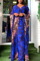 Blue Fashion Casual Print Slit V Neck Long Sleeve Two Pieces