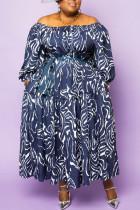 Purple Casual Print Split Joint Off the Shoulder Plus Size Dresses