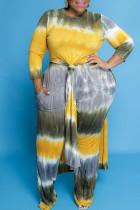 Lemon Yellow Casual Striped Print Tie Dye Split Joint Slit O Neck Plus Size Two Pieces