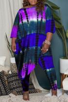 Purple Fashion Casual Tie Dye Asymmetrical O Neck Plus Size Two Pieces