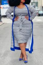 Blue Casual Plaid Split Joint Pencil Skirt Plus Size Two Pieces