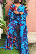 Blue Purple Fashion Casual Print Slit V Neck Long Sleeve Two Pieces