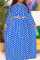 Blue Casual Dot Split Joint O Neck Cake Skirt Plus Size Two Pieces