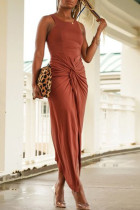 Orange Casual Tank Sleeveless O Neck Asymmetrical Mid Calf Solid Dresses