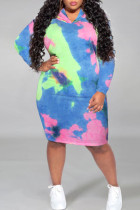 Turquoise Casual Print Tie Dye Split Joint Hooded Collar Straight Plus Size Dresses