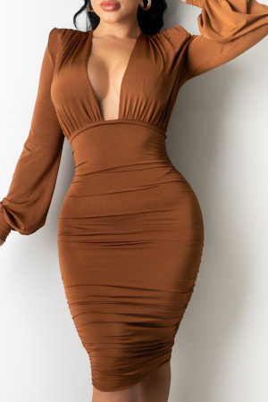 Brown Sexy Leopard Split Joint V Neck Pencil Skirt Dresses
