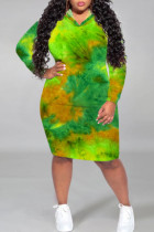 Green Casual Print Tie Dye Split Joint Hooded Collar Straight Plus Size Dresses