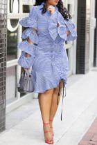 Baby Blue Chic Striped Flounce Design Knee Length Dress