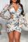 Multicolor Sexy Print Split Joint V Neck Waist Skirt Dresses