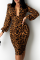 Leopard Print Sexy Leopard Split Joint V Neck Pencil Skirt Dresses